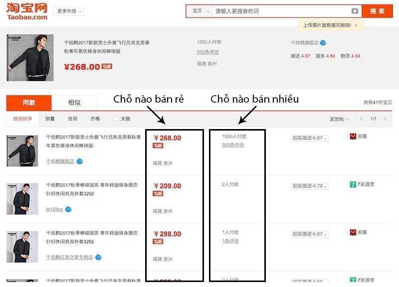 sản phẩm có hình ảnh tương tự và giống nhau về mẫu mã trên taobao